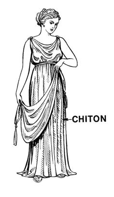 Ionic Chiton - This is a column of fabric with pins (think fancy safety pin) at shoulders and a rope belt at waist. Also, note the hair,