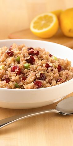Made It was pretty good (first time trying quinoa). My 20 month old devoured it. A side dish quinoa recipe flavored with dried cranberries and green onions for a great accompaniment for chicken or pork Healthy Cooking, Healthy Eating, Cooking Recipes, Healthy Food, Healthy Dishes, Healthy Meals, Clean Eating, Side Dish Recipes, Side Dishes
