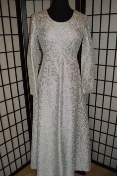 Stunning Vintage Sparkle Glitter Shimmer Silver Long Length Anniversary Dress, $79 including shipping