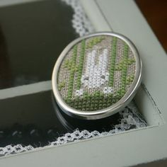 embroidered brooch  white rabbit on linen by BelaStitches on Etsy, $17.00