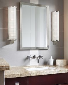 The Energy Star Rated Hudson Valley Arcadia vanity light's sleek column of etched pressed glass expresses a modernist aesthetic, while evenly casting attractive illumination in all directions. Mirror With Lights, Wall Lights, Bathroom Lighting Design, Welded Furniture, Star Wall, Hudson Valley Lighting, Outdoor Wall Sconce, Bath Vanities, Wall Sconces