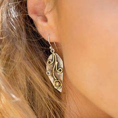 Handmade Silver And Gemstone Leaf Drop Earrings