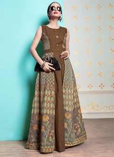 Add a small burst of colour inside your wardrobe with this Brown Color Heavy Michelin Abaya Style Designer Readymade Long Kurti. the ethnic print and handGowns - buy gowns for girls & womens online in india. Batik Fashion, Abaya Fashion, Ethnic Fashion, Fashion Dresses, Model Dress Batik, Batik Dress, Dress Batik Kombinasi, Blouse Batik, Batik Blazer