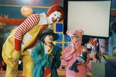 """""""What Am I Gonna Be For Halloween?"""" 1995. Ronald McDonald with kids dressed in a daddy costume and a little pig costume.. McDonald's. Visit my McDonaldland Page:  https://www.facebook.com/FilmingInMcDonaldland"""