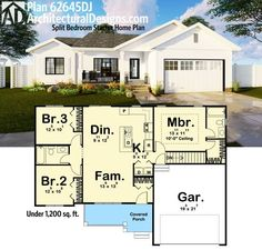 Architectural Designs 3 Bed House Plan 62645DJ makes a great starter home. Under 1,200 square feet of living. Ready when you are. Where do YOU want to live?