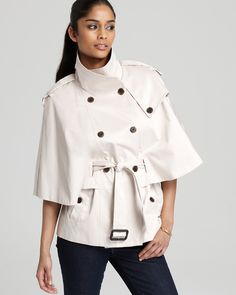 Double Breasted Belted Cape