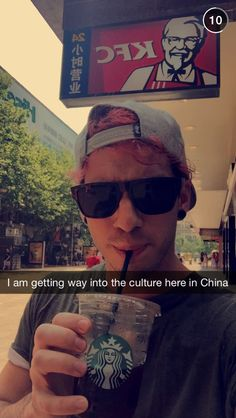 Ahahaha real into the culture with his KFC and Starbucks