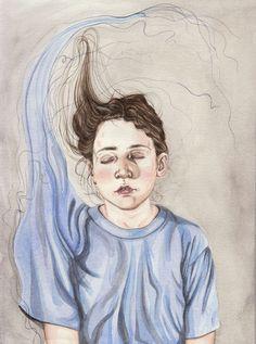 Henrietta Harris Drifting Faces Drawings - A Ballad