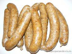 Carnati cu cartofi Tasty, Yummy Food, Preserving Food, Preserves, Sausage, Appetizers, Vegan, Canning, Recipes