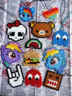 NEW Kitsch Pixel Hama Bead Necklaces (Heart, Little Pony, Skull, Rilakkuma)