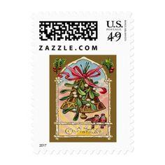 Bell Mistletoe Holly Christmas Bird Postage