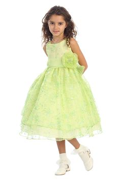 Lime Green Stunning Embroidered Sleeveless Dress with Detachable Sash CD-736-LM CD-736 $67.95 on www.GirlsDressLine.Com