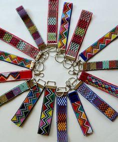 wrist keychain fabric key fob red tribal key holder by VivaGuate Inkle Weaving, Inkle Loom, Card Weaving, Tablet Weaving, Mexican Fabric, Wrist Lanyard, Key Fobs, Textiles, Fiber Art