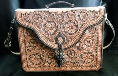 Hand Made Floral Carved Briefcase by Double U Leather | CustomMade.com