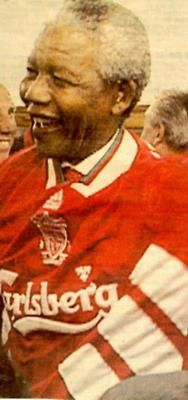 Nelson Mandela: During his time as South African President, Mandela met the Liverpool squad during the Reds' tour of Africa back in Presented with a Liverpool shirt by John Barnes, he later told the winger in an interview that he was a fan of the club. Liverpool Squad, Ynwa Liverpool, Liverpool Football Club, Liverpool History, Nelson Mandela, John Barnes, Liverpool Fc Wallpaper, This Is Anfield, Football Predictions