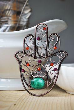 copper / malachite / carnelian / candy jade Hamsa palm / home decor Hamsa Jewelry, Handmade Wire Jewelry, Handmade Copper, Clay Jewelry, Wire Wrapped Pendant, Wire Wrapped Jewelry, Copper Wire Crafts, Hamsa Design, Unusual Jewelry