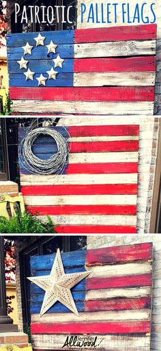 to make a Patriotic Pallet Flag Celebrate Independence Day / Fourth of July with some decorative Patriotic Pallet Flags. Free videos by on how to do it step-by-step, prepping, painting and staining! Pallet Crafts, Diy Pallet Projects, Wood Crafts, Wood Projects, Diy And Crafts, Craft Projects, Crafts With Pallets, Upcycled Crafts, Pallet Projects Christmas
