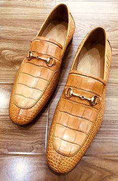 Men's Handmade Alligator Bit Slip-on Loafer Suit Shoes, Men S Shoes, Dress Shoes, Nigerian Men Fashion, Gentleman Shoes, Mens Winter Boots, Formal Shoes For Men, Courses, Beautiful Shoes