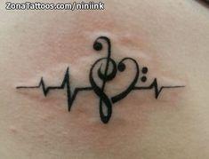 Foto tatuaje Electrocardiogramas, Notas Musicales