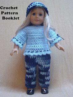 "Crochet Pattern For 18"" Dolls #SD7 Blouse-Pants-Hat Fits the Popular 18"" Dolls"