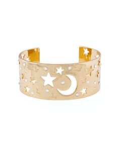 Star and moon starry astronomy celestial gold cuff bracelet