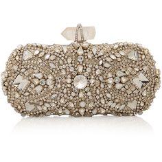 MARCHESA Crystal Clutch ($3,902) ❤ liked on Polyvore featuring bags, handbags, clutches, purses, accessories, bolsas, brown handbags, jeweled handbags, chain strap handbag and marchesa