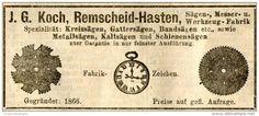 Original-Werbung/ Anzeige 1912 - KREISSÄGEN / KOCH - REMSCHEID - HASTEN - ca. 95 x 40 mm