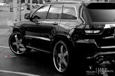 """Imagine yourself Cruising the Roads on this Jeep Grand Cherokee SRT 8 sitting on our Very own  Vellano VTL 26"""" Standard  turn heads and make other drivers jealous,  all of our Wheels are custom cut to fit your Vehicle and Custom Finish on whatever color or Material you wish for.  Let us know what can we do for you?"""