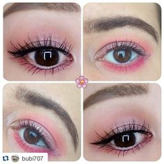 """#Repost @bubi707 with @repostapp   Sakura/Hanami Collaboration   I did a collaboration with my friend @romi699667 on the theme """"Sakura 桜"""" and """"Hanami 花見"""" and these are our Sakura/Hanami makeup looks! Do you like them? Don't forget to check out @romi699667 's page!  Products:  @urbandecaycosmetics Electric Palette (eyeshadows Jilted Savage)  @urbandecaycosmetics Vice 4 Palette (eyeshadows Bones Harlot Flame)  @urbandecaycosmetics single eyeshadows Fireball Glitter Rock  @urbandecaycosmetics…"""