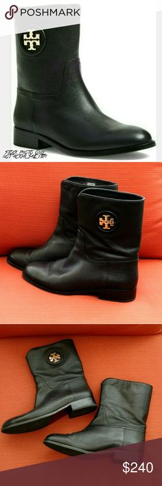 """Tory Burch Hallie Black Ankle Logo Boot Tory Burch black Hallie logo ankle boot.   Richly grained leather adds texture to a cleanly styled bootie set on a low stacked heel.  Appx 1"""" heel, 8"""" boot shaft.  Pull-on style.  Leather upper and lining/rubber and leather sole.  These boots have been worn only a few times.  Upper is in excellent condition.  Heel has a few nicks which are hardly visible while wearing.  These boots work equally well for a night on the town or running errands on the…"""