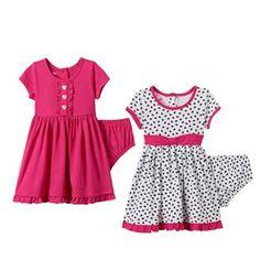 Baby Girl Nannette Heart Print & Solid Dress Set