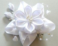 Plantilla de Flor Kanzashi de novia blanco tela french