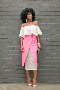 Off Shoulder Blouse + Tie Waist Midi Skirt Style Pantry waysify