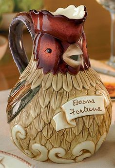 ceramic ART__Grasslands Road-Cucina Tuscan Ceramic Rooster Handled Serving Pitcher