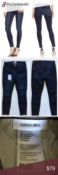 """NWT Paige verdugo skinny ankle jeans size 28 Paige Verdugo ankle jean in Tami - size 28 Stock photo is a similar wash and used for fit.  Waist laying flat: approx 14.5"""". Inseam: 28"""" Dark, flattering wash and soft!  Brand new with tags! PAIGE Jeans Ankle & Cropped"""
