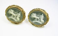 Men's Cufflinks DANTE Cmaeo Incolay Stone Helios by unclesteampunk