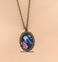 Necklace with bird flower kawaii cute Lolita by AudreyPinkStyle, €18.00