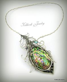 Silver collier with abalone shell. one of a kind by kokkozik