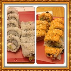 California Roll with cream cheese and Spicy Tuna Roll.