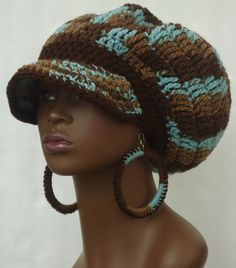 Earth n Sky Crochet Rasta Brimmed Cap Hat  with by razondalee, $42.00.. I just need pic for inspiration for these colors I have