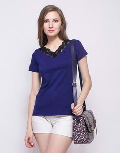 FabAlley Scallop Lace Trim Tee - Navy : Stay cool and stylish on your off-duty days in this super awesome navy blue cotton jersey tee featuring short sleeves and black scallop lace trim on the v-neck. Regular fit.  Work It - Looks chiller with white shorts and a floral crossbody bag.
