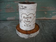 Set of 10 birch bark vases, engraved w/ names & date for your wedding Non Flower Centerpieces, Birch Centerpieces, Tree Wedding Centerpieces, Wedding Reception Flowers, Wedding Ideas, Wedding Tables, Centerpiece Ideas, Wedding Receptions, Wedding Stuff