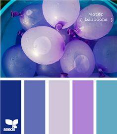 Ideas bedroom colors for girls purple design seeds for 2019 Purple Color Palettes, Purple Palette, Colour Pallete, Colour Schemes, Purple Hues, Light Purple, Color Combinations, Design Seeds, Color Water Balloons