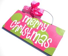 Merry Christmas Holiday Polka Dot Sign - green and pink - preppy - cute polka dot sign. $27.95, via Etsy.  #LillyHoliday