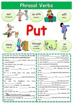 I created this worksheet to help my students understand phrasal verbs with put. It contains flashcards and some exercises where students must fill in the gaps with the correct phrasal verb. - ESL worksheets