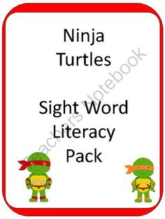 "Ninja Turtle Sight Word CENTER from Teaching my Two on TeachersNotebook.com -  (59 pages)  - This 59 page Sight Word Literacy Center set has tons of games to help learn sight words, including:   - Sight Word Shuffle: (Pre-Primer AND Primer cards) - ""Roll a Sight Word"": and more"