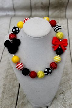 mickey mouse chunky necklace red yellow black by LightningBugsLane Chunky Bead Necklaces, Chunky Beads, Beaded Tassel Necklace, Chunky Jewelry, Pretty Necklaces, Beaded Jewelry, Jewellery, Little Girl Jewelry, Kids Jewelry