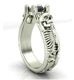 The Bent Skull Engagement Ring  From The Temple of the Ancient Dragon Solid 14 KT Gold. Black Diamond Center Stone  Superior Bla