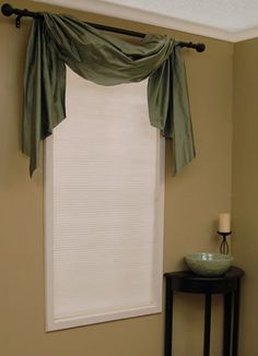 scarf valance over cellular shades- does anyone know where I could find something like this? Window Scarf, Scarf Valance, Swag Curtains, Cute Curtains, Window Coverings, Window Treatments, Home Decor Bedroom, Living Room Decor, Dining Room