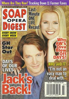 Matthew Ashford & Melissa Reeves (Jack & Jennifer #DAYS) 2/13/01 http://classicsodcovers.tumblr.com/